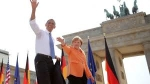 Obama and Merkel at Brandenberg Gate
